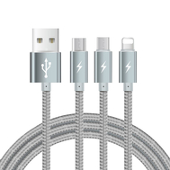 3 in 1 USB Charging Cords Nylon Metal Braid Data Sync 1.2M
