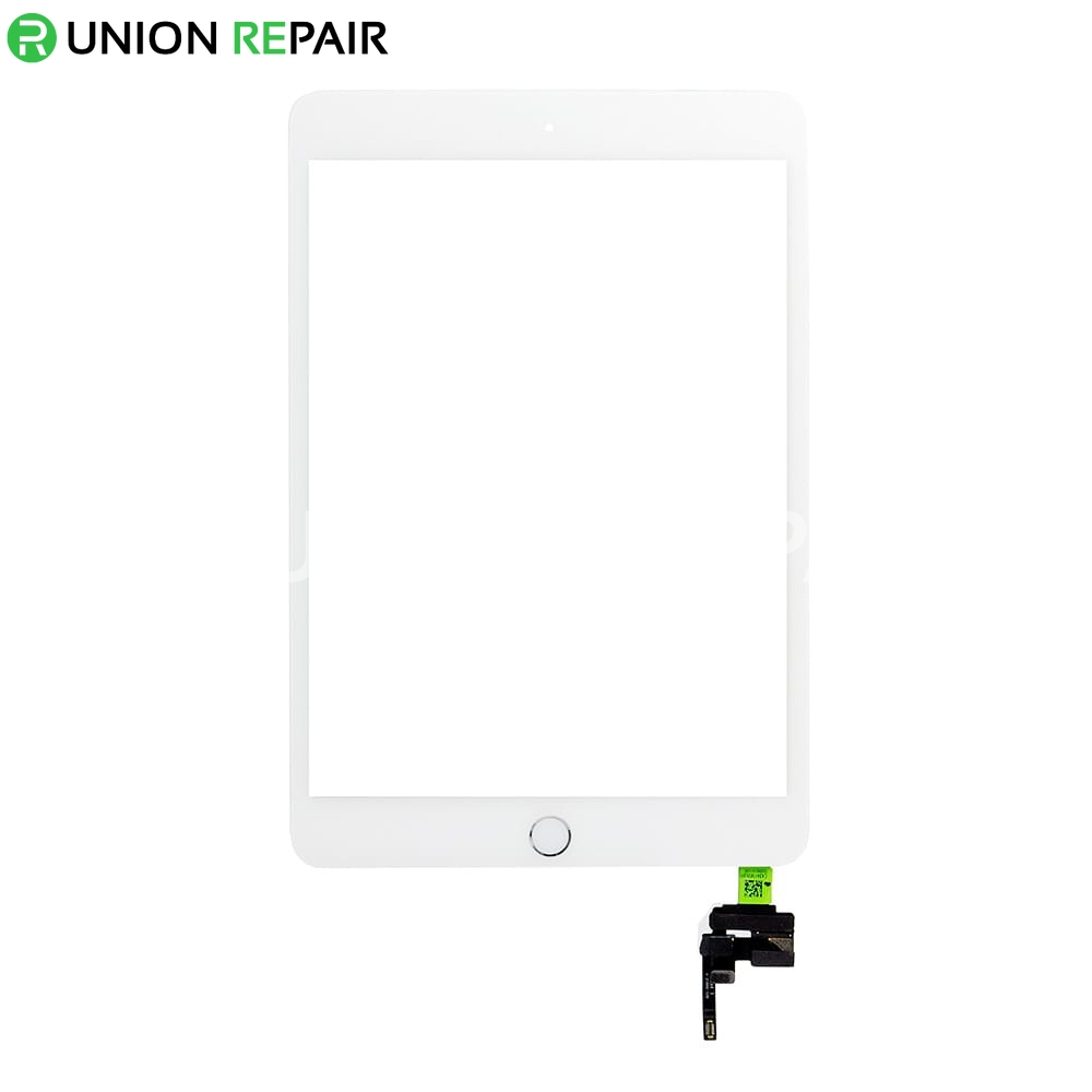 Replacement for iPad Mini 3 Digitizer Assembly With Silver Home Buttom Assembly - White