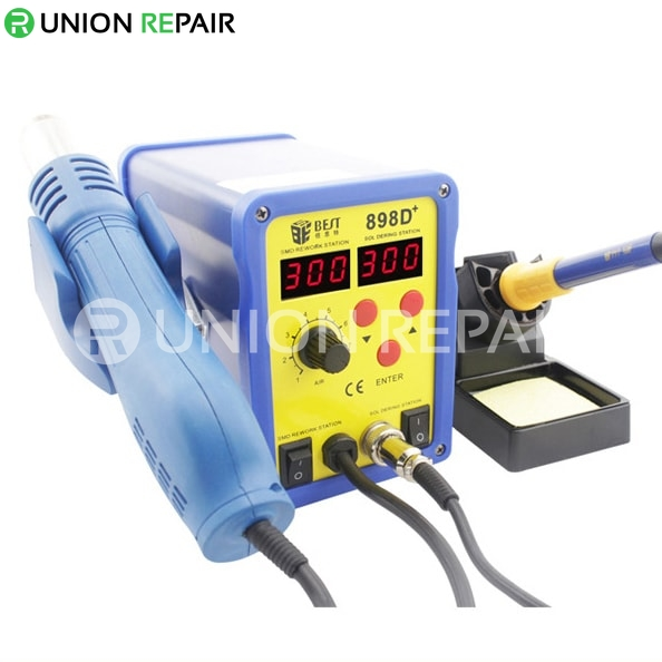 Double LED Display 2 IN 1 Intelligent Leadfree Hot Air Gun With Helical Wind Solder Iron # BST- 898D+