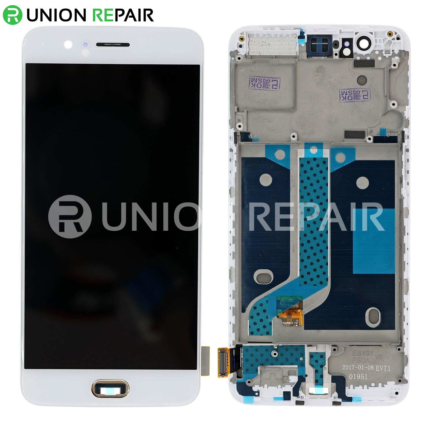 Replacement for OnePlus 5 LCD Screen Digitizer Assembly With Front Housing - White