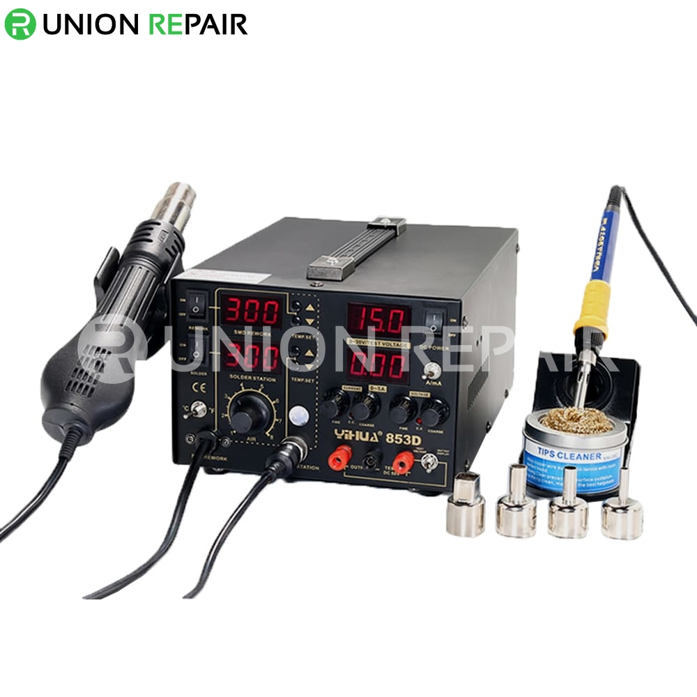 YIHUA 853D 5A 3 IN 1 Large DC Power Supply Rework Soldering Station ...
