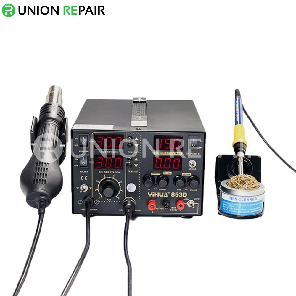 YIHUA 853D 5A 3 IN 1 Large DC Power Supply Rework Soldering Station With Hot Air Gun