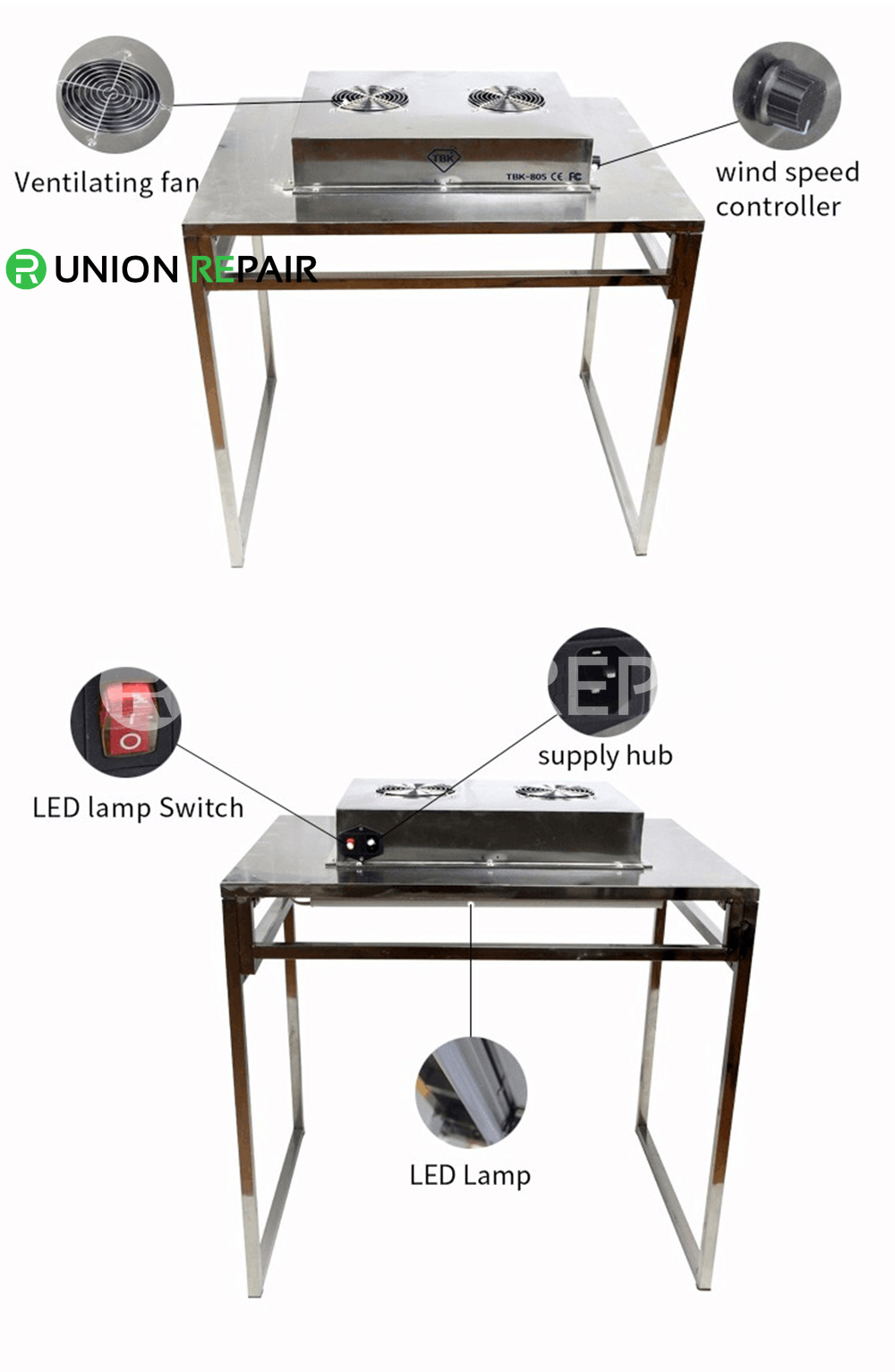 TBK-805 Dis-mountable Cleaning Dust-free Working Room Bench Table