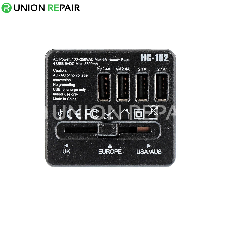 HOUSE HC-182 Universal Conversion Plug Socket with 4 USB Ports