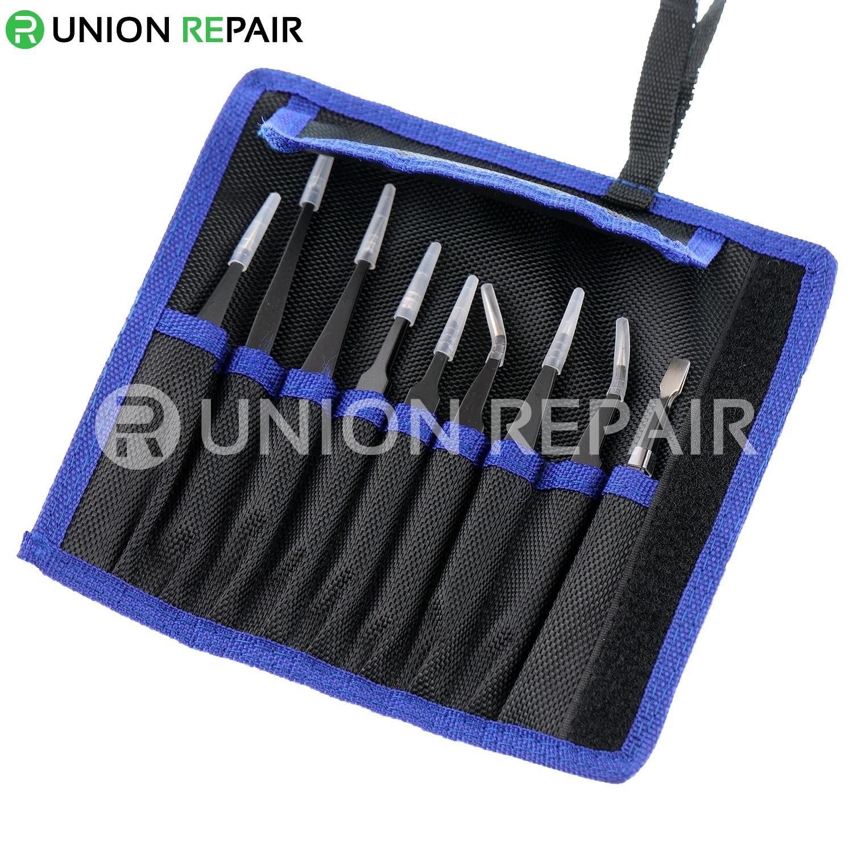 9 in 1 Anti-Static Stainless Steel Tweezers Kit