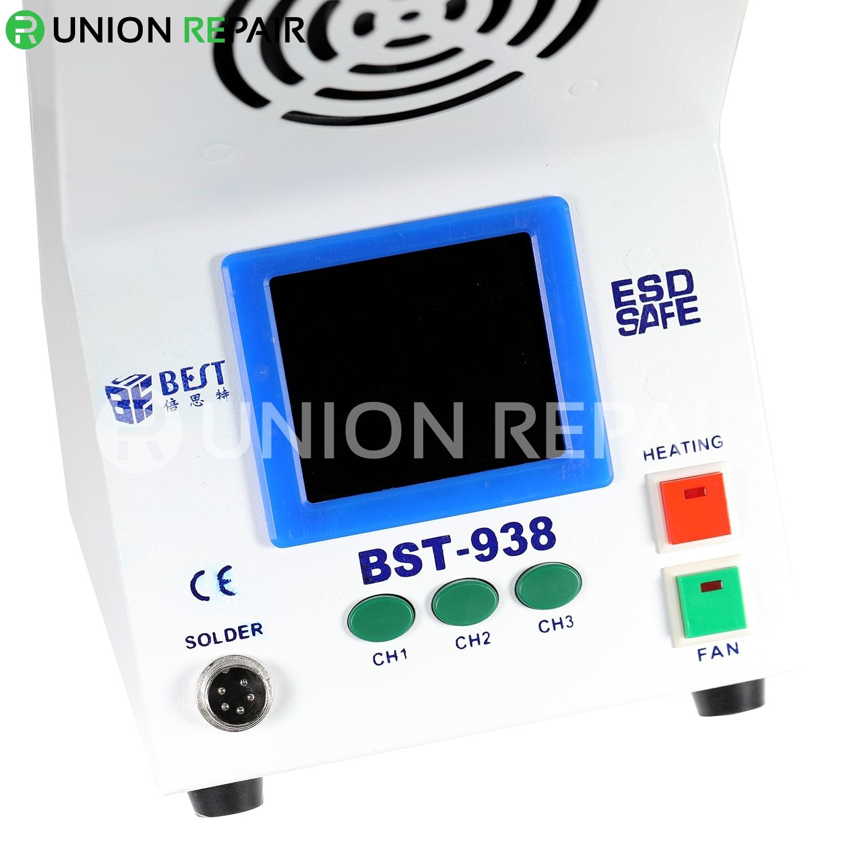 BST-938 Multi-functional 3 in 1 LED light Soldering Smoke Absorber Soldering Iron Station