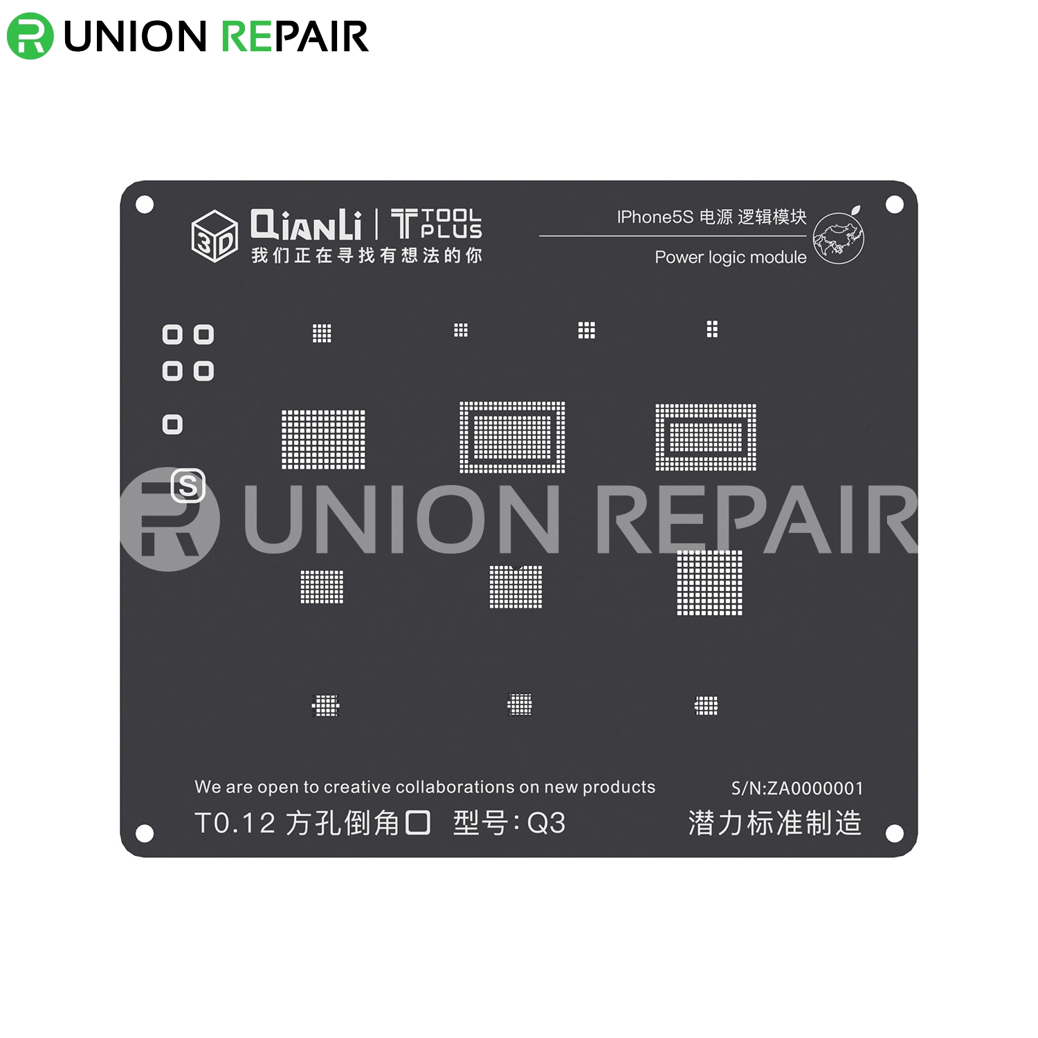 QianLi ToolPlus 3D iBlack iPhone Power Logic Module BGA Reballing Black Stencil, Type: For 5S Q3