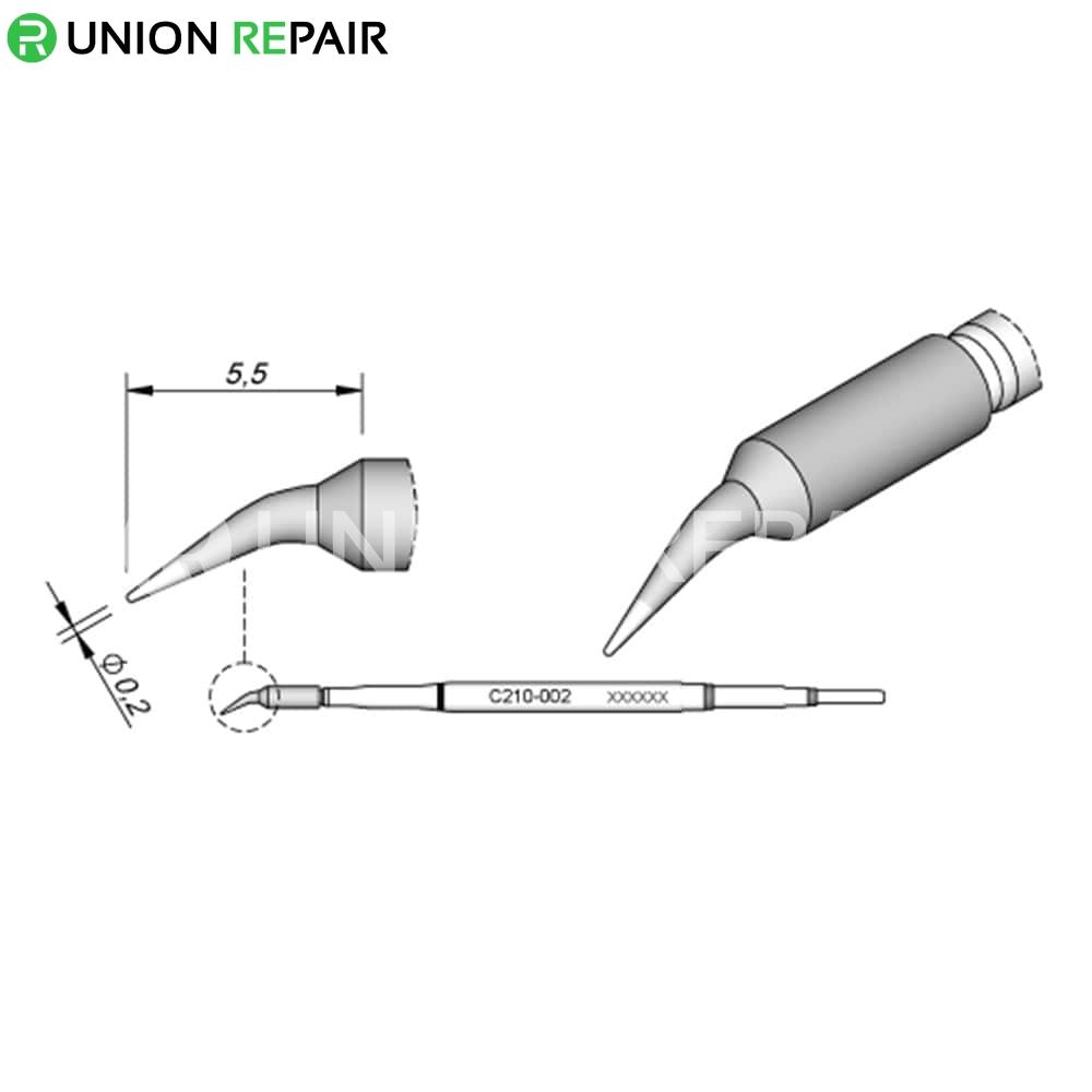 JBC C210 Series Solder Tip, Tip Type: C210-002 Cartridge Bent