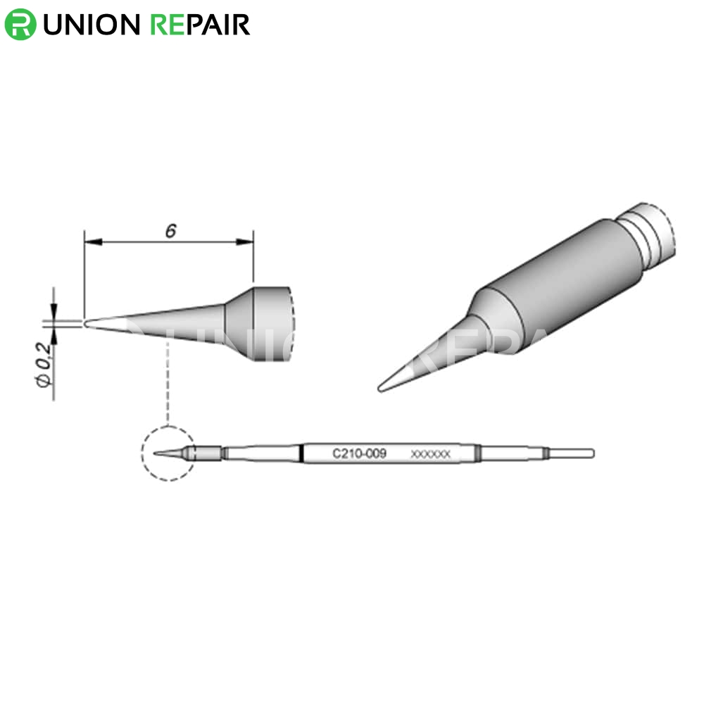 JBC C210 Series Solder Tip, Tip Type: C210-009 Cartridge Conical