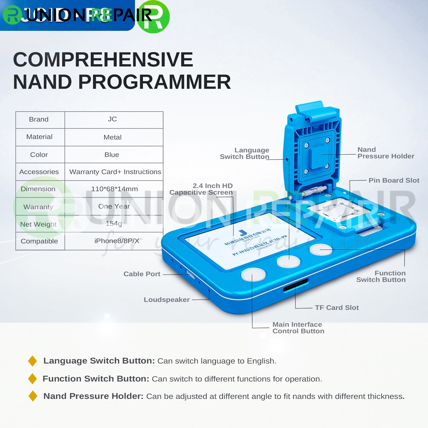 JCID-P8 2 in 1 Engineering Prototype Board PCIE Programmer For iPhone 8/8P/X
