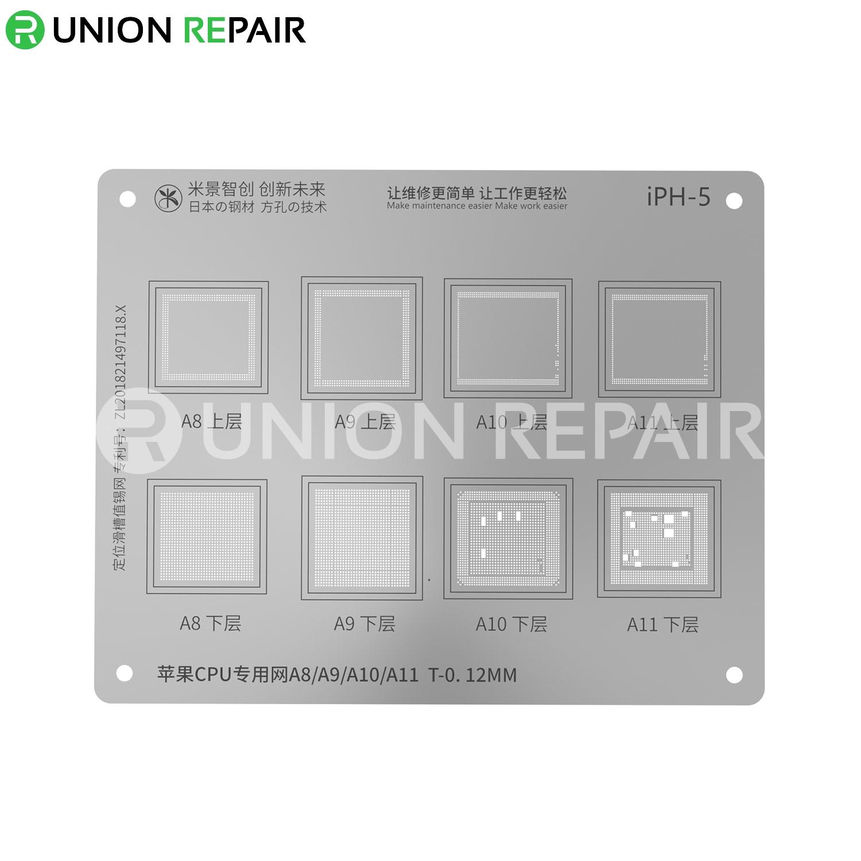MiJing Universal CPU BGA Reballing Stencil for iPhone A8/A9/A10/A11
