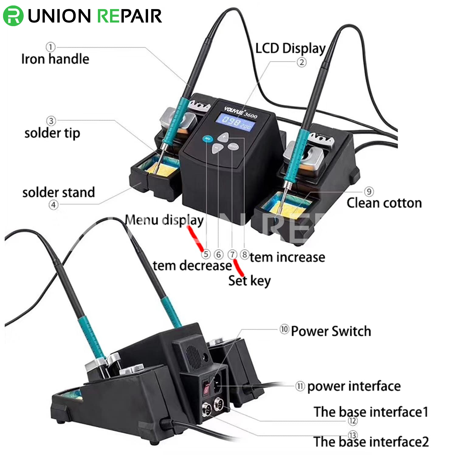 UYUE 3600 75W Constant Dual Solder Iron Rework Station
