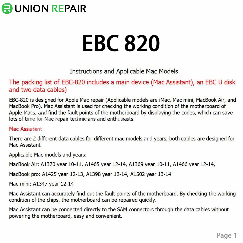 MacBook Motherboard Diagnose Tool & Serial Number Tool EBC 820