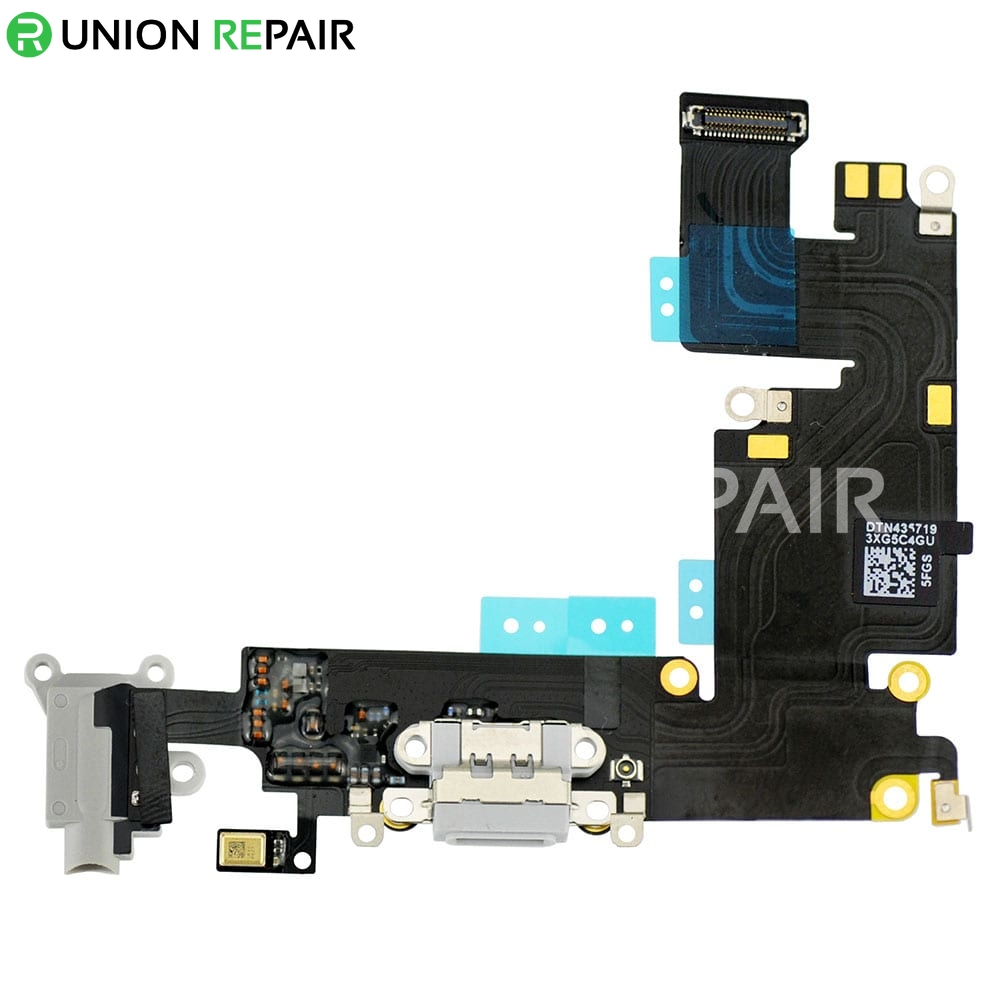 Replacement For Iphone 6 Plus Headphone Jack With Charging Connector Flex Cable Light Gray